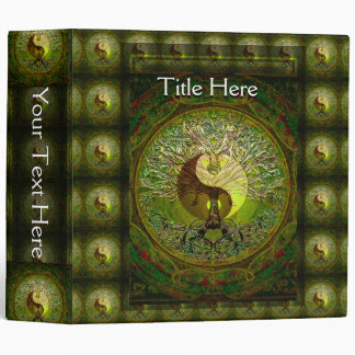Green Yin Yang Mandala with Tree of Life Binder