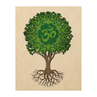 Green Yoga Om Tree of Life Wood Canvases
