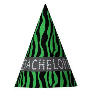 Green Zebra Faux Diamond Bachelorette Hats