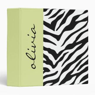 Green Zebra Print Vinyl Binders