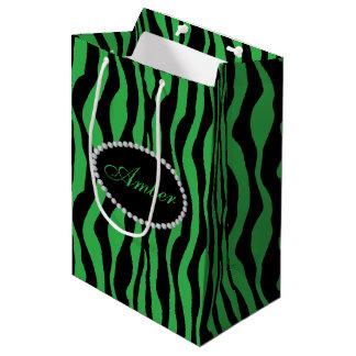 Green Zebra Print  Diamonds & Name Monogram Medium Gift Bag