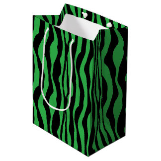 Green Zebra Print Gift Bag