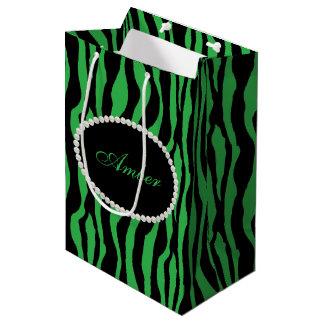 Green Zebra Print Pearls & Name Monogram Medium Gift Bag