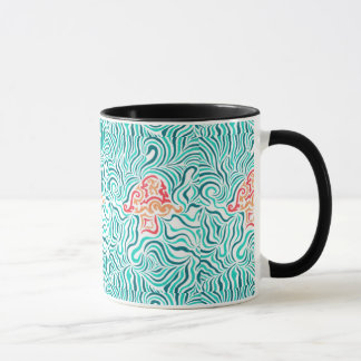 Green Zebra Stripe And Mushroom Mug