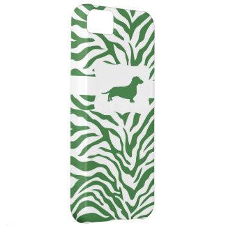 Green Zebra Stripe w/Dachshund iPhone 5C Case