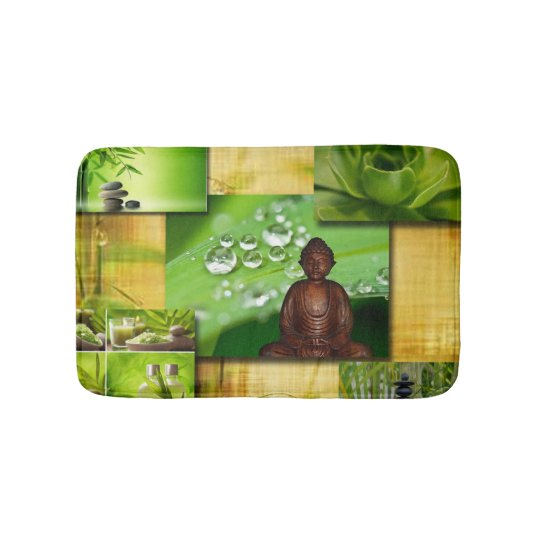 Green Zen & Buddha Serenity Collage Bathroom Mat