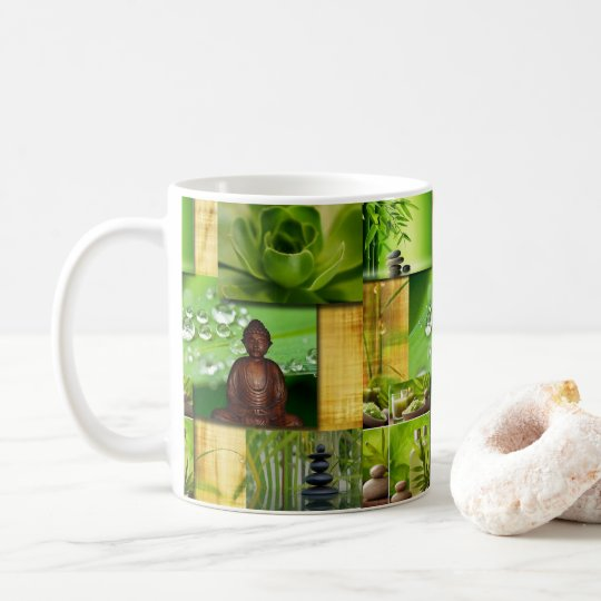 Green Zen & Buddha Serenity Collage Coffee Mug