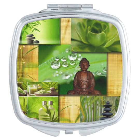 Green Zen & Buddha Serenity Collage Compact Mirror