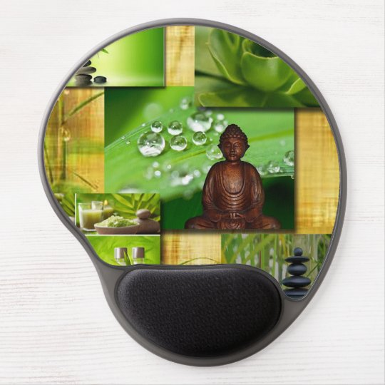Green Zen & Buddha Serenity Collage Gel Mouse Pad