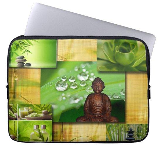 Green Zen & Buddha Serenity Collage Laptop Sleeve