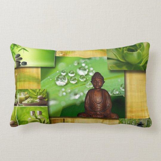 Green Zen & Buddha Serenity Collage Lumbar Pillow