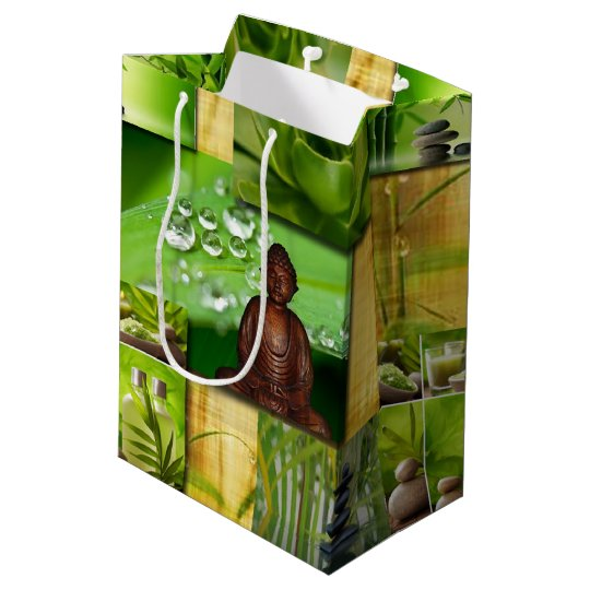 Green Zen & Buddha Serenity Collage Medium Gift Bag