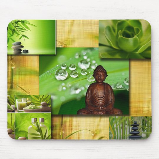 Green Zen & Buddha Serenity Collage Mouse Pad