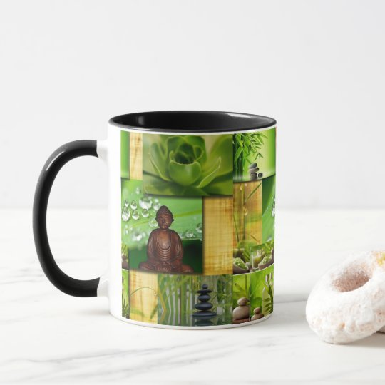 Green Zen & Buddha Serenity Collage Mug