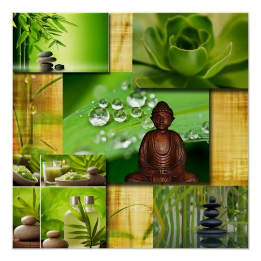 Green Zen & Buddha Serenity Collage Perfect Poster