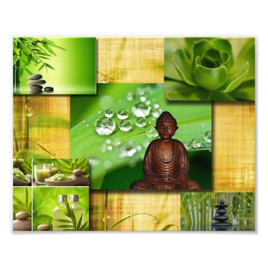 Green Zen & Buddha Serenity Collage Photo