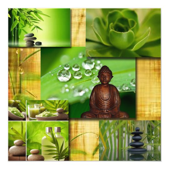 Green Zen & Buddha Serenity Collage Photo Print