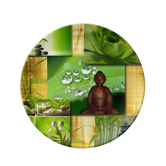 Green Zen & Buddha Serenity Collage Plate