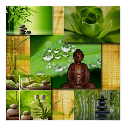 Green Zen & Buddha Serenity Collage Poster