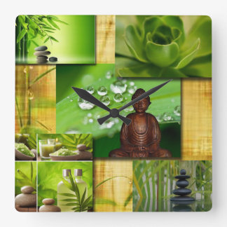 Green Zen & Buddha Serenity Collage Square Wall Clock