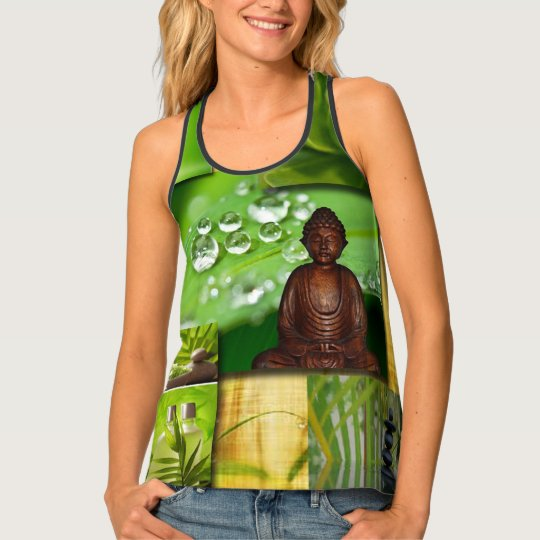 Green Zen & Buddha Serenity Collage Tank Top