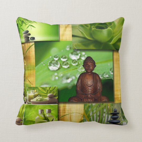 Green Zen & Buddha Serenity Collage Throw Pillow