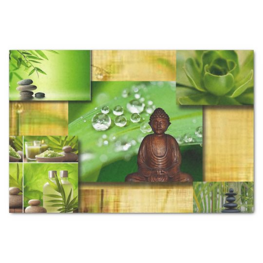 Green Zen & Buddha Serenity Collage Tissue Paper