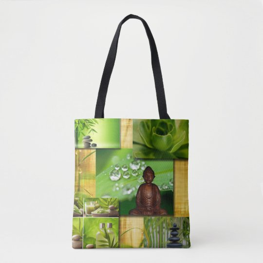 Green Zen & Buddha Serenity Collage Tote Bag