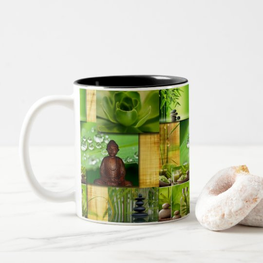 Green Zen & Buddha Serenity Collage Two-Tone Coffee Mug