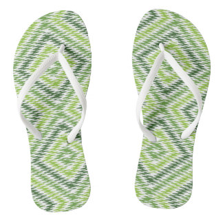 Green Zig Zag Flip Flops