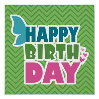 Green zig zag happy birthday butterfly poster