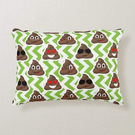 Green Zig Zagged Pattern Poop Emoji Accent Pillow