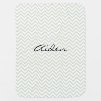 Green Zigzag Personalized Baby Blanket