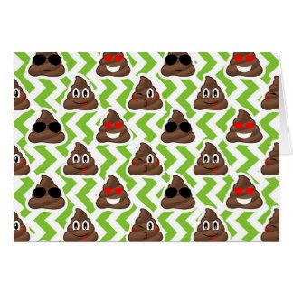 Green ZigZag Poop Pattern Emojis Card