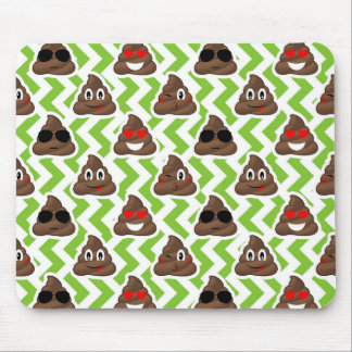 Green ZigZag Poop Pattern Emojis Mouse Pad