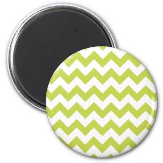Green Zigzag Stripes Chevron Pattern 2 Inch Round Magnet