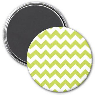 Green Zigzag Stripes Chevron Pattern 3 Inch Round Magnet