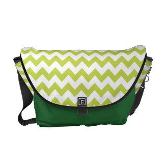 Green Zigzag Stripes Chevron Pattern Messenger Bag