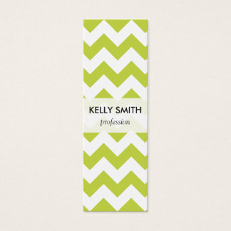 Green Zigzag Stripes Chevron Pattern Mini Business Card