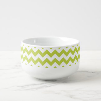 Green Zigzag Stripes Chevron Pattern Soup Bowl With Handle