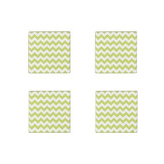Green Zigzag Stripes Chevron Pattern Stone Magnets