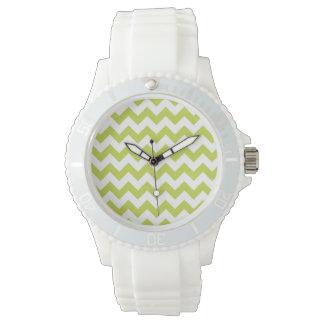 Green Zigzag Stripes Chevron Pattern Watch