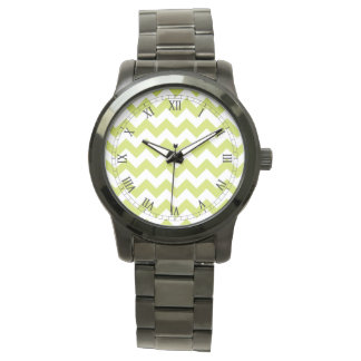 Green Zigzag Stripes Chevron Pattern Wrist Watch