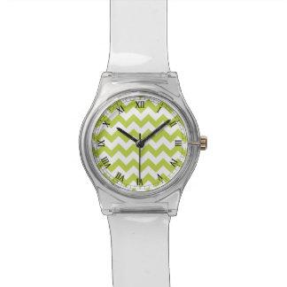 Green Zigzag Stripes Chevron Pattern Wrist Watch