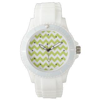 Green Zigzag Stripes Chevron Pattern Wrist Watches
