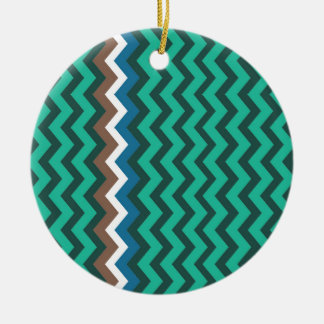 Green Zigzags With Manly Border Round Ceramic Ornament