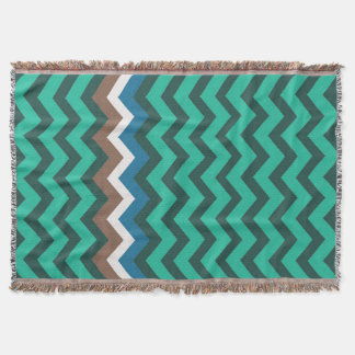Green Zigzags With Manly Border Throw Blanket