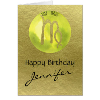 Green Zodiac Sign Virgo on Gold Background Card