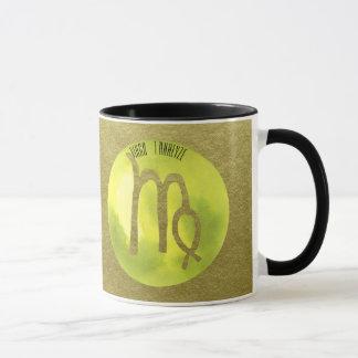 Green Zodiac Sign Virgo on Gold Background Mug