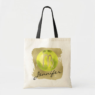 Green Zodiac Sign Virgo on Gold Background Tote Bag